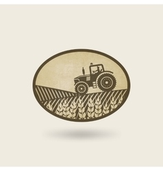 Oval label with the landscape tractor in field vector
