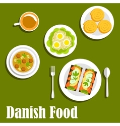 Danish national cuisine dishes and sandwiches vector