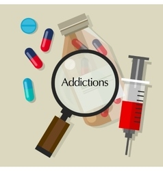 Addictions drug addicts pills overdose vector