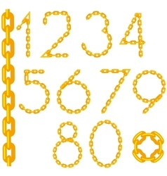 Gold chain number collection isolated vector