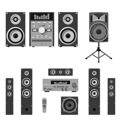 Set of audio and music systems icons vector