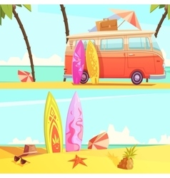 Surfing banners retro cartoon vector