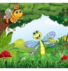 A dragonfly and a bee at the forest vector image vector image