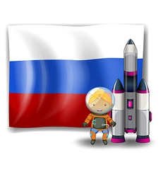 A Russian flag with an explorer beside a rocket vector image vector image