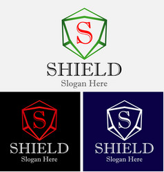 abstract shield logo vector image vector image