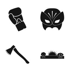 boxing glove mask and other web icon in black vector image vector image