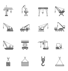 Building construction crane black icons set vector