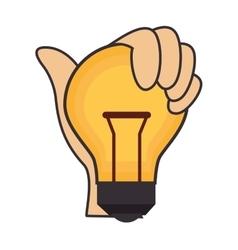 Bulb hand light idea creative design vector