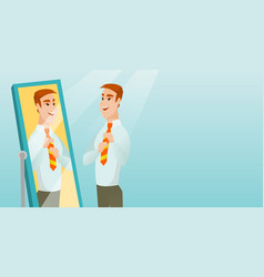 Business man looking himself in the mirror vector