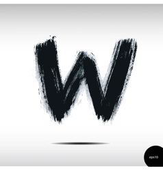 Calligraphic watercolor letter W vector image