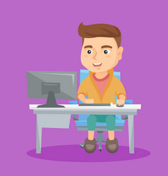 caucasian schoolboy working on a computer at home vector image