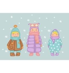 children in winter vector image vector image