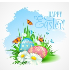 Easter greeting card with daisies and eggs vector image