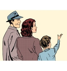 Family mom dad and son retro style pop art vector