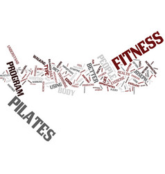 Fitness and pilates text background word cloud vector
