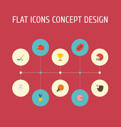 Flat icons puck boxing rugby and other vector