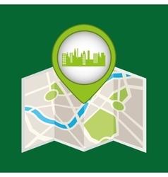 Green city pin map icon vector