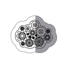 Monochrome sticker of concept of cloud maintenance vector