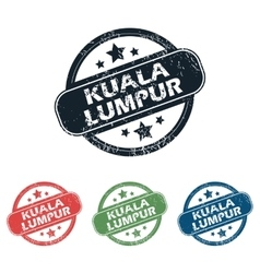 Round kuala lumpur stamp set vector