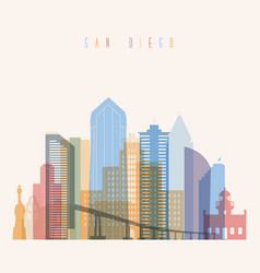 San diego state california skyline detailed silhou vector