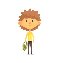 Serious boy with spiky brown hair primary school vector