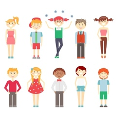 Small children in colorful clothes vector
