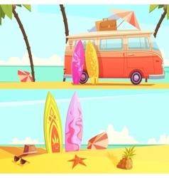 Surfing banners retro cartoon vector