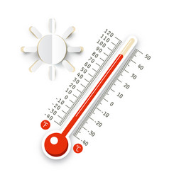 Thermometer with sun icon hot weather symbol vector