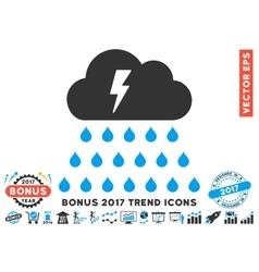Thunderstorm Rain Cloud Flat Icon With 2017 Bonus vector image vector image