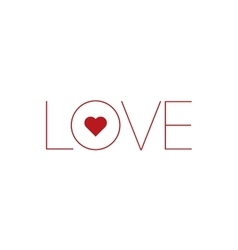 Word love with red heart vector