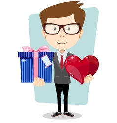 Young man smiling holding gift and heart vector image vector image