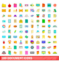 100 document icons set cartoon style vector image
