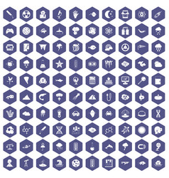 100 research icons hexagon purple vector