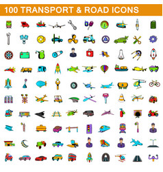 100 transport icons set cartoon style vector