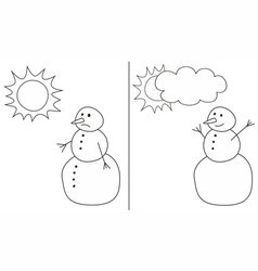 Happy and sad snowman isolated on white background vector