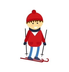 Skiing boy vector