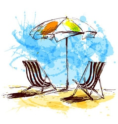 Colored hand sketch with beach chairs and parasols vector