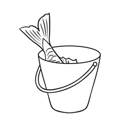 Fish in the bucket icon in outline style isolated vector