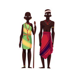 Native black aboriginal man and woman from african vector
