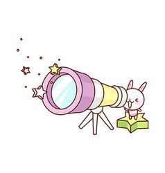 Look through a telescope vector image