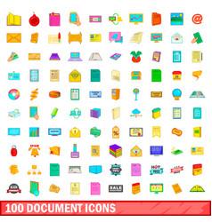 100 document icons set cartoon style vector image