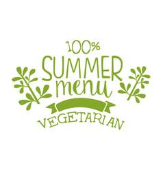 Summer menu green label vector