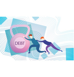 business man push weight credit debt finance vector image