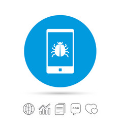 Smartphone virus sign icon software bug symbol vector