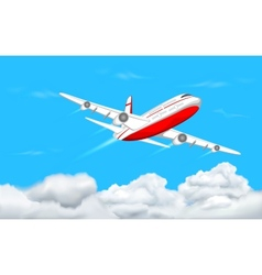 Airplane flying in sky vector