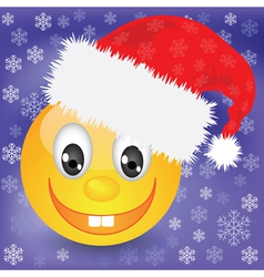 Smile in a christmas hat vector
