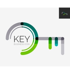 Minimal line design logo key icon vector