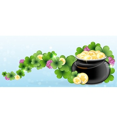 Pot with gold and shamrock clover vector