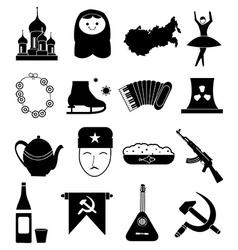 Russian culture icons set vector