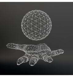 Ball on the arm the hand holding a sphere vector